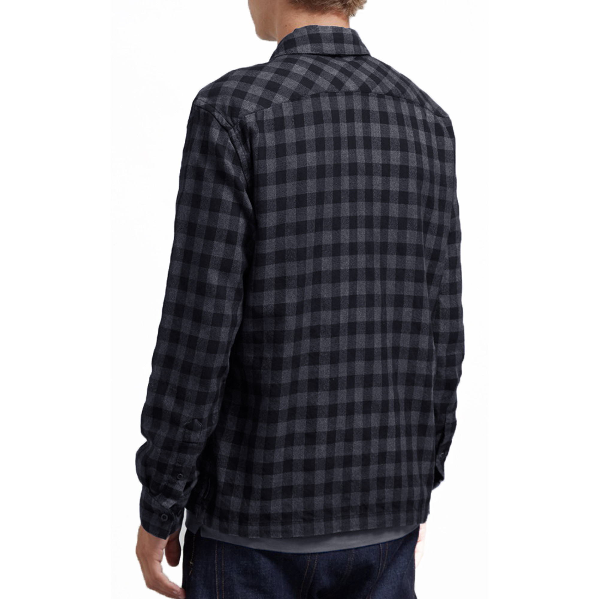 French Connection Mens Long Sleeve Zip Fasten Blanket Cotton Check Shirt Regular