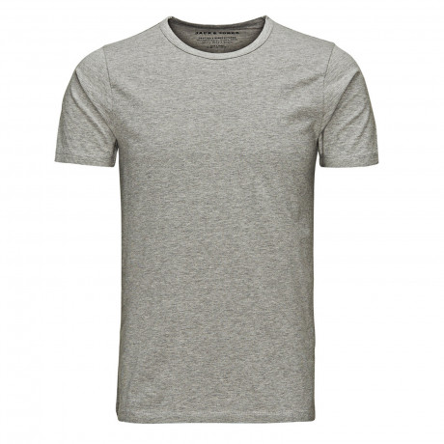 Jack & Jones Basic Crew Neck Cotton Lycra Plain T-shirt Light Grey Melange | Jean Scene