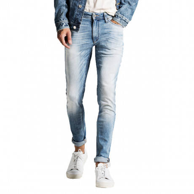 Jack & Jones Liam Original Slim Skinny Fit Super Stretch Denim Jeans Light Blue   Jean Scene