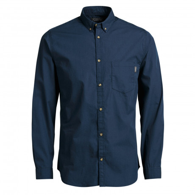 Jack & Jones Gavin Plain Shirt Long Sleeve Navy Blazer Blue | Jean Scene