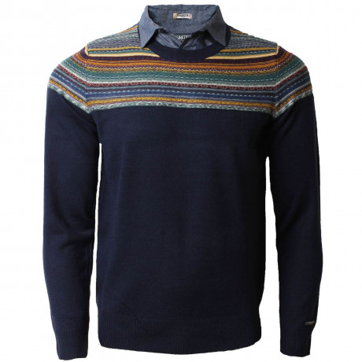 Kensington Inserted Shirt Collar Crew Neck Harper Jumper Eclipse Blue