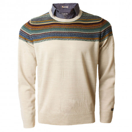 Kensington Inserted Shirt Collar Crew Neck Harper Jumper Oatgrey Marl