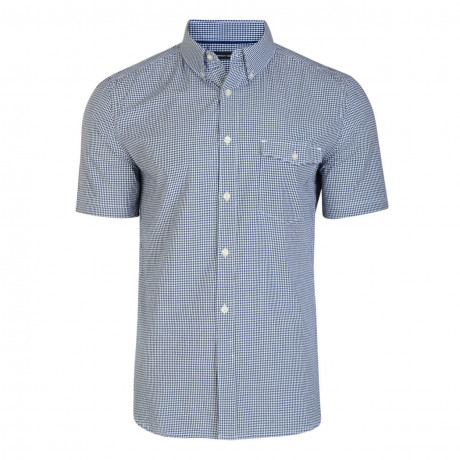 French Connection Short Sleeve GNGHM floral Shirt Marine Blue