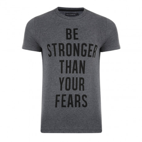 French Connection Be Stronger Than Your Fears T-shirt Charcoal Image
