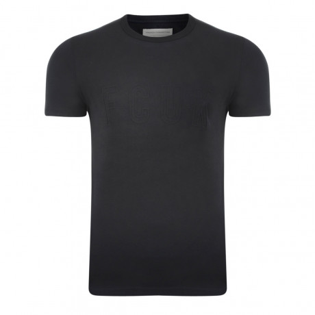 French Connection Embossed FCUK T-shirt Black Image