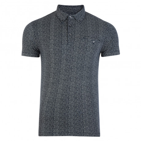 French Connection Micro Floral Polo Shirt Shirt Blue