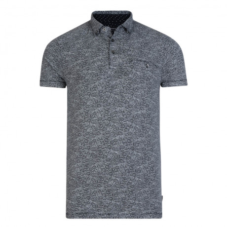 French Connection Micro Mix Floral Polo Shirt Marine Blue