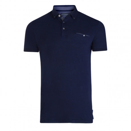 French Connection Micro Plain Star Dot Polo Shirt Marine Blue