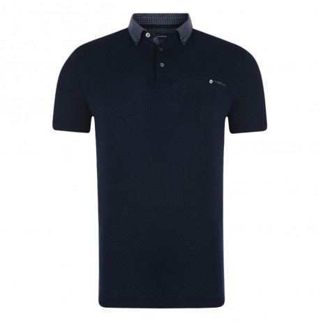 French Connection Micro Contrast Geo Polo Shirt Marine Blue