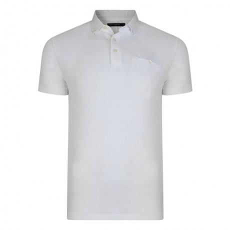 French Connection Micro Contrast Geo Polo Shirt White