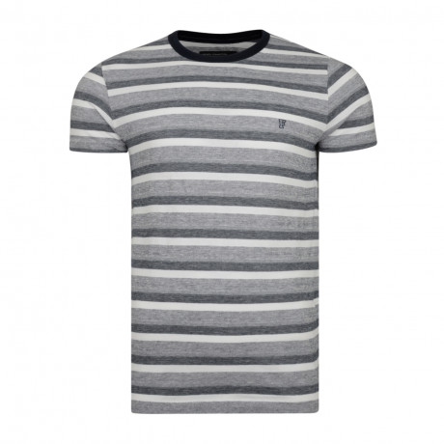 French Connection Jacquard Stripe Summer T-shirt Marine Blue | Jean Scene