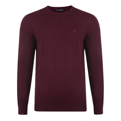 French Connection Crew Neck Cotton Jumper Bordeaux Image