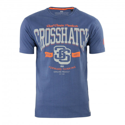Crosshatch Printed Athenas Logo T-shirt Vintage Indigo | Jean Scene