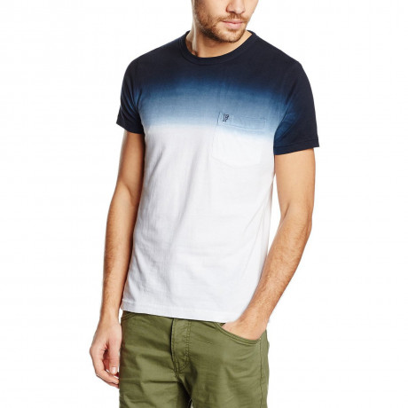 French Connection Dip Dye T-shirt Marine Blue White