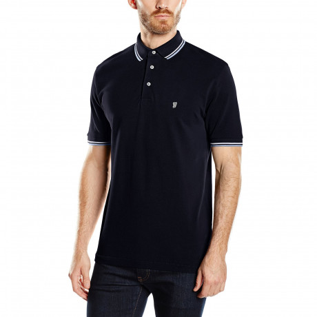 French Connection Polo Pique T-Shirt Marine Blue Image