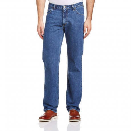 Lee Brooklyn Denim Jeans Dark Stonewash Blue Image