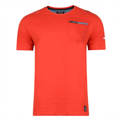 Firetrap Vee Neck Adversane Plain T-shirt Racing Red