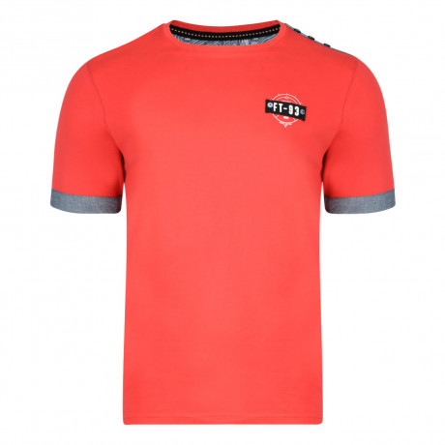 Firetrap Crew Neck Brimley Plain T-shirt Racing Red