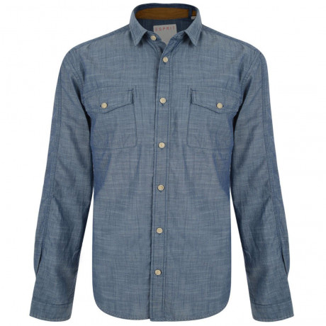 Esprit Slim Fit Long Sleeve Plain Shirt Cinder Blue