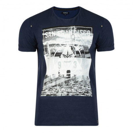 Firetrap Crew Neck City Bridge Print T-shirt Navy