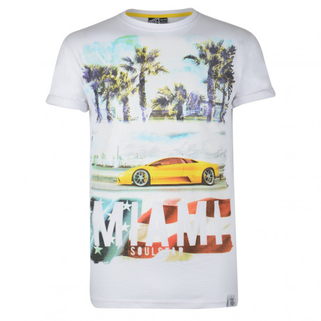 Soul Star Print T-shirt Miami Car White Image