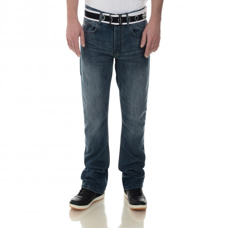 Crosshatch Straight Fit Moscow Jeans Faded Mid Wash Image