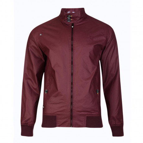 Firetrap Men's Goswell Cotton Harrington Field Jacket Burgandy