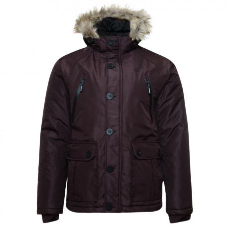 Kangol Ontario Men's Faux Fur Parka Jacket Dark Mahogany Burgundy