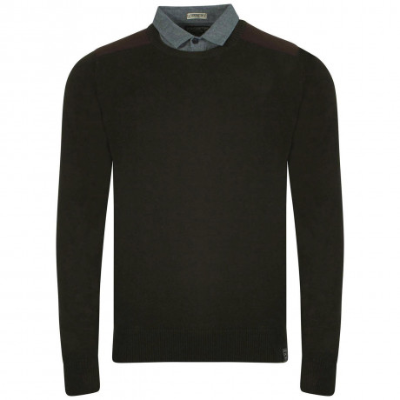 Kensington Inserted Shirt Collar Crew Neck Roxton Jumper Thunder Black