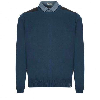 Kensington Inserted Shirt Collar Crew Neck Roxton Jumper Dark Denim
