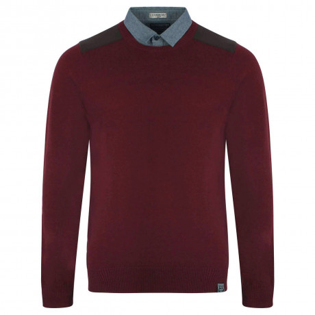 Kensington Inserted Shirt Collar Crew Neck Roxton Jumper Oxblood