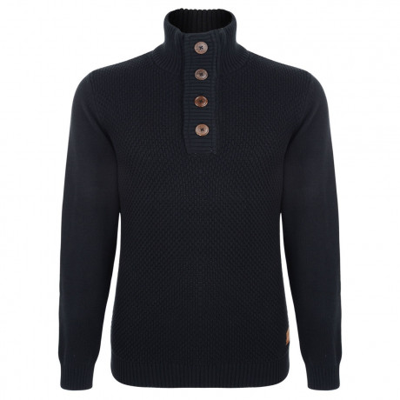 Esprit Heavy Knitted Button Neck Cotton Jumper Black Image