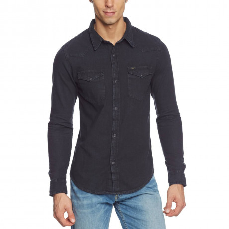 Lee Western Denim Shirt Pitch Black Image