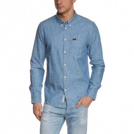 Lee Button Down Long Sleeve Cotton Shirt Blue Ice Image