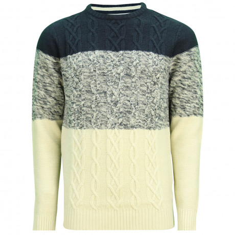 Soul Star Crew Neck Caspian Knitted Jumper Navy