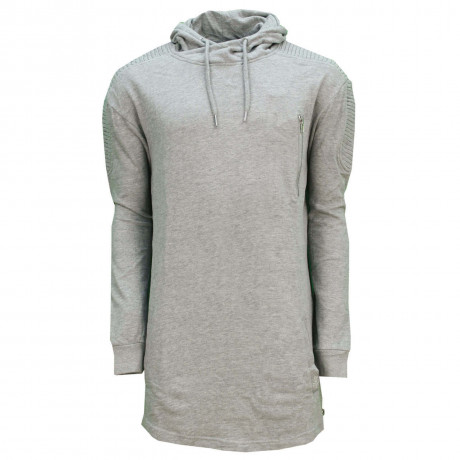 Soul Star Madison Long Length Hooded Sweatshirt Grey Melange