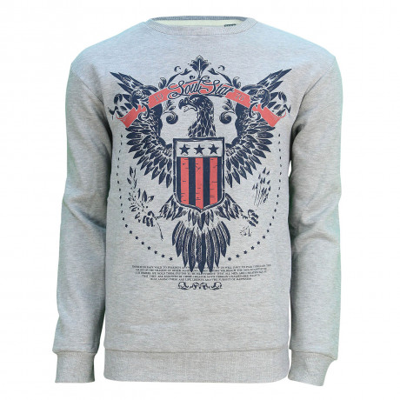 Soul Star Crew Neck Eagle Print Sweatshirt Grey Melange