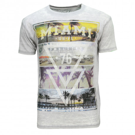 Soul Star Crew Neck Print T-shirt Miami Beach 76 Lt Grey
