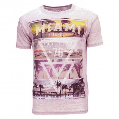 Soul Star Crew Neck Print T-shirt Miami Beach 76 Pink