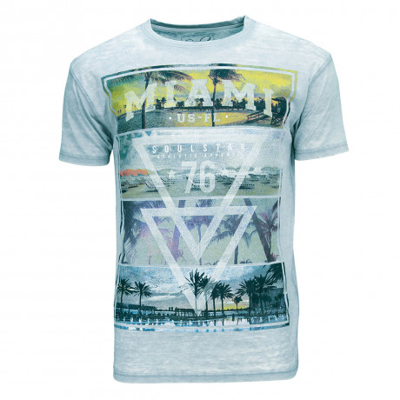 Soul Star Crew Neck Print T-shirt Miami Beach 76 Sky