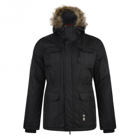 Crosshatch Men's Parked Long Faux Fur Parka Jacket Black