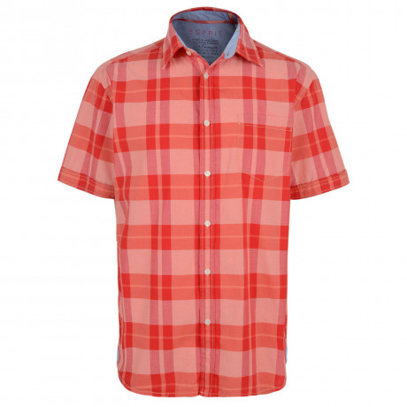 Esprit Regular Fit Short Sleeve Check Shirt Peach Red