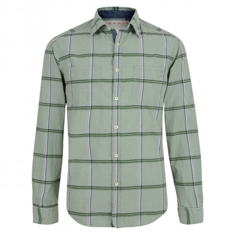 Esprit Regular Fit Long Sleeve Check Shirt Reed Green