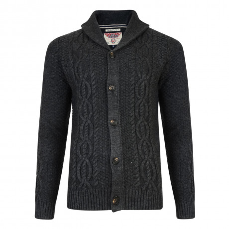 Tokyo Laundry Silverton Knitted Button Cardigan Charcoal Marl