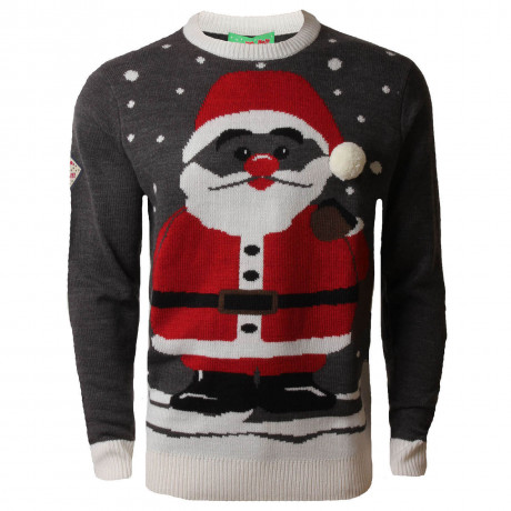 3D Novelty Christmas Jumper Crew Neck Cool Santa Charcoal