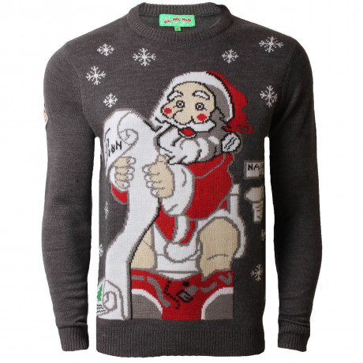 Novelty Christmas Jumper Crew Neck Santas Naughty List Charcoal