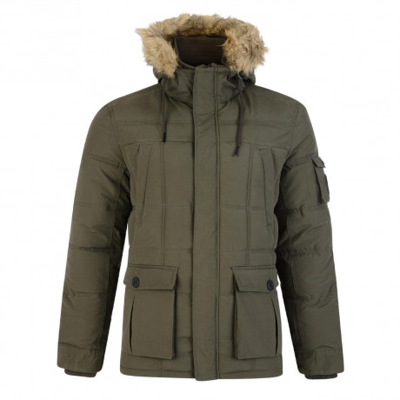 Threadbare Humberside Faux Fur Parka Jacket Khaki Green