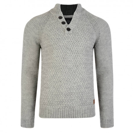 Threadbare New Zealand Button V Neck Wool Blend Jumper Silver