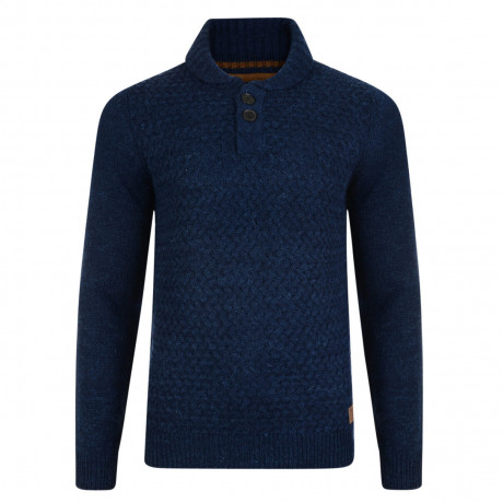 Threadbare Oslo Crew Collar Neck Wool Blend Jumper Indigo