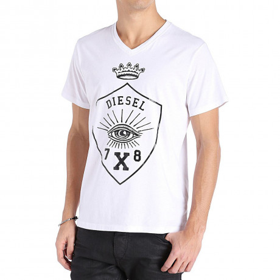 Diesel T-Hama Vee Neck Print T-shirt White
